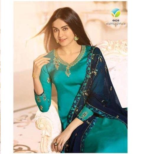 c6ea2440849 VINAY JASHAN – Satin Georgette fabric embroidery work party-wear salwar  kameez with printed plazzo bottom