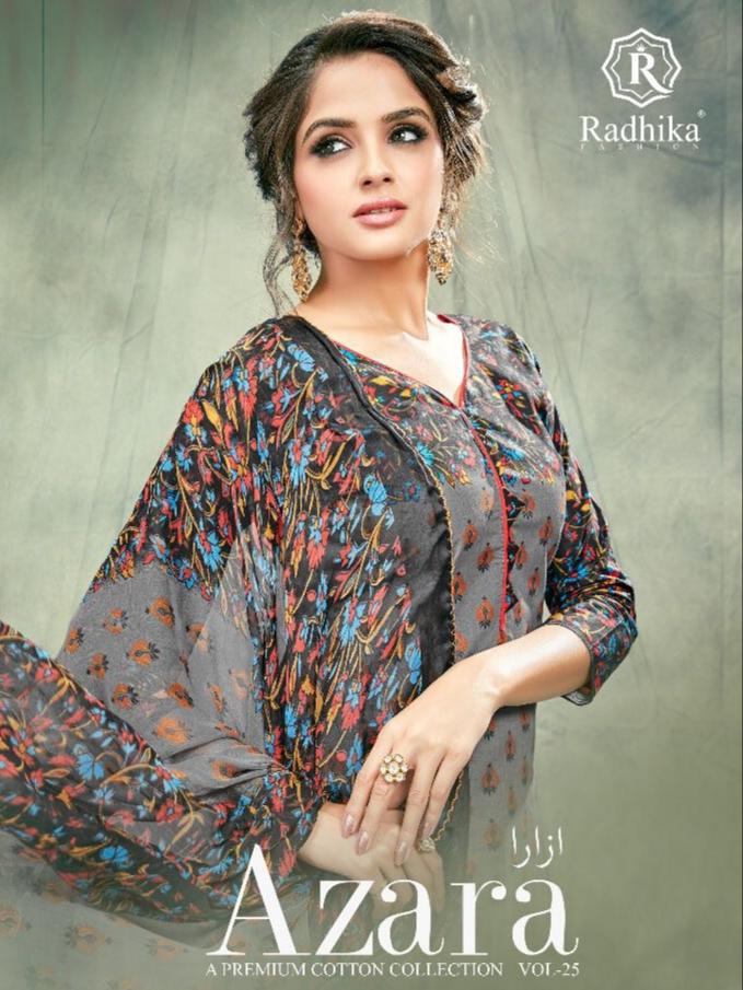 2ea9fe07f2 AZARA VOL 25 – Pure Cambric cotton fabric printed casual wear salwar kameez  with chiffon dupatta