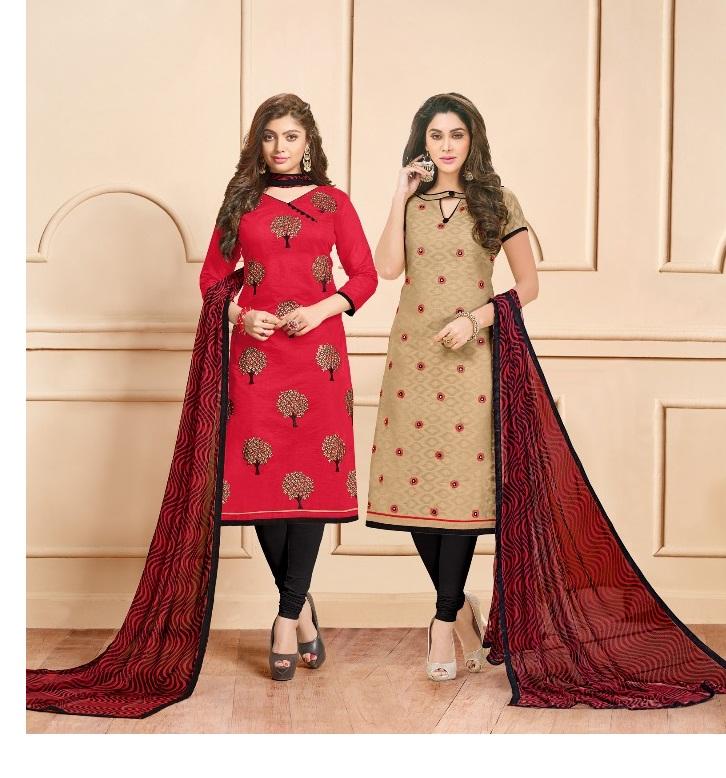 72120ca2b7 AVC CHINNI MINNI VOL 4 – Cotton jacquard and chanderi cotton fabric  embroidery work two top salwar kameez