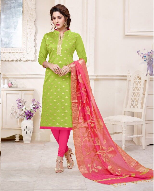 141241c2ea AVC KIMAYA VOL 2 – Modal Chanderi fabric embroidery work top wit hbanarasi  dupatta salwar suit
