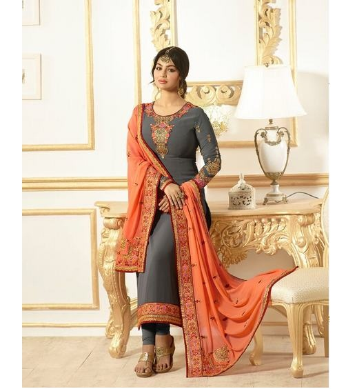 aa86f60e3 AYESHA TAKIA VOL 24 – Georgette fabric embroidery work suits with heavy work  dupatta