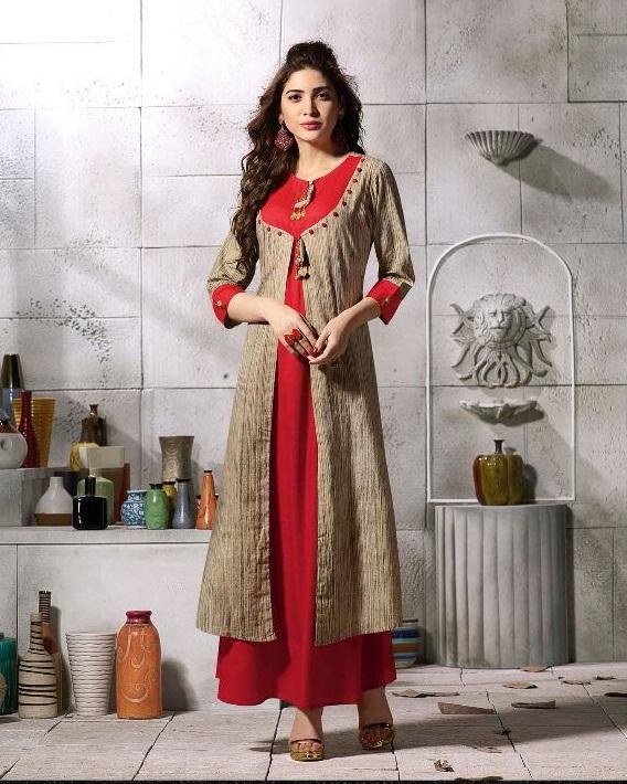 76032aa5942 KHUSBOO – Cotton fabric printed with stitching patterns anarkali style  kurtis