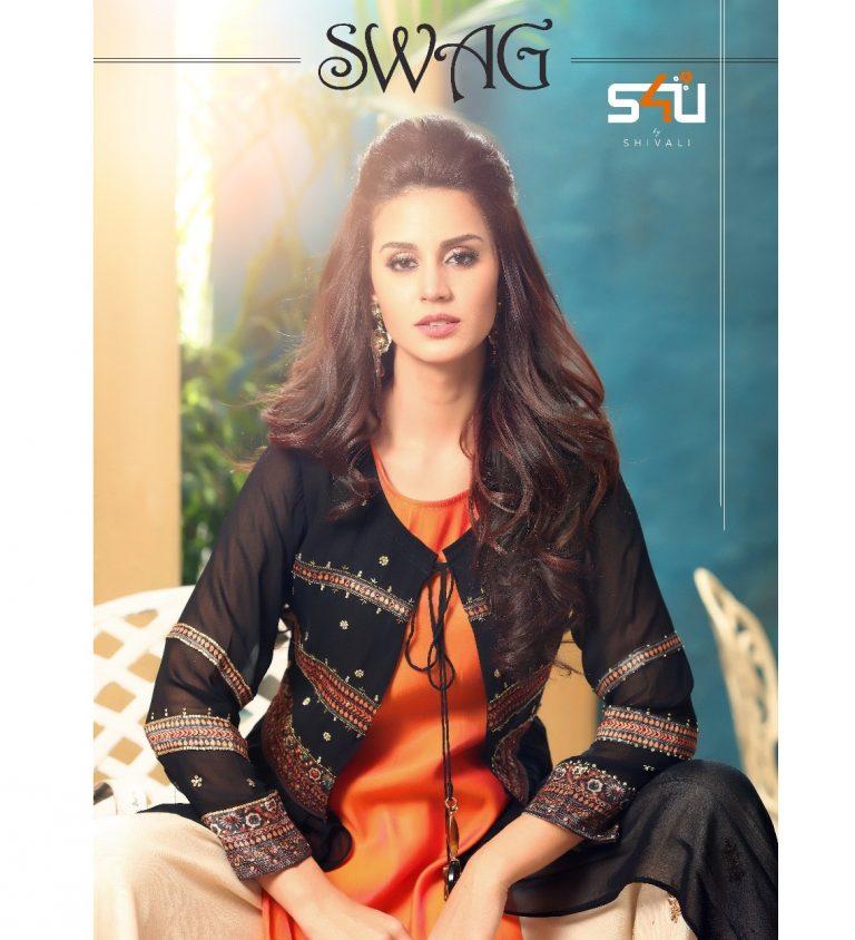 5f4194231c S4U SWAG PREMIUM – Rayon and Silk fabric stylish print with hand work party  wear kurtis