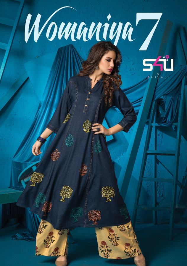 cf4097883c S4U WOMANIYA VOL 7 – Rayon cotton fabric print with hand work readymade  kurtis with plazzo bottom