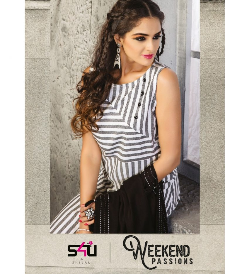 638d90b8ee S4U WEEKEND PASSIONS – Cotton and rayon fabric print with hank work party  wear stylish kurtis by shivali