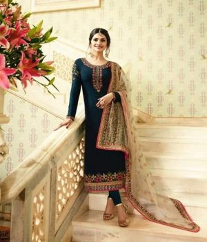 fc97e055b4 VINAY MUMTAZ – Satin Georgette fabric embroidery work top with heavy work  dupatta EID special collection