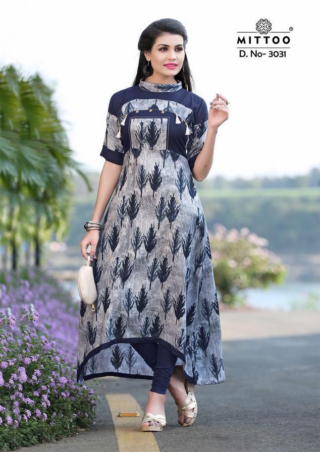 608e354e0b MITTOO PREET VOL 4 - Rayon fabric print with stitching patterns long ...