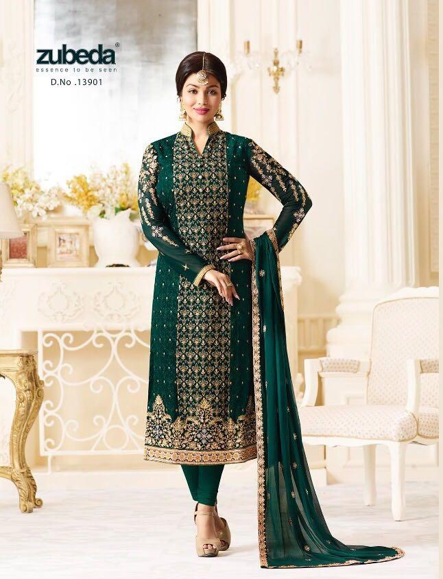 c725f53b41 ZUBEDA SHYOGINI – Georgette fabric embroidery work top with heavy dupatta  work party-wear salwar kameez