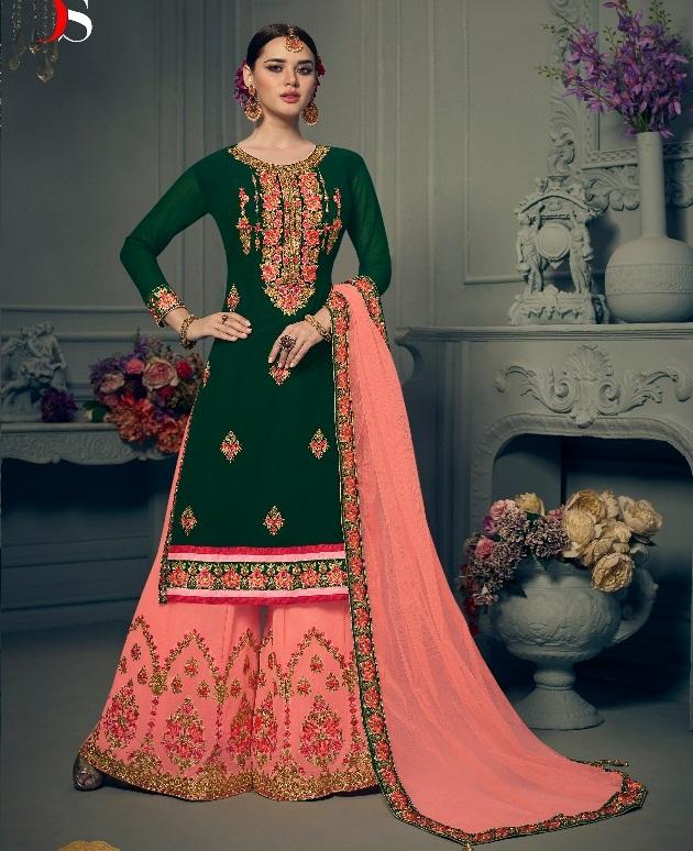 53b7253594 DEEPSY DULHAN VOL 5 – Georgette fabric hand work and khatli work plazzo  bottom bridal wear salwar kameez