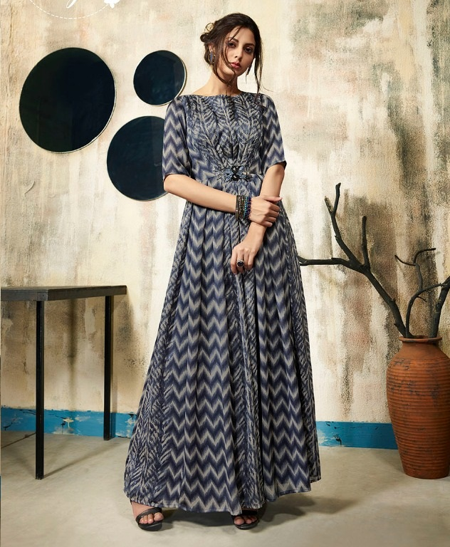 18aa968e462 LT NITYA VOL 28 NX – Satin georgette fabric embroidery work party-wear gown  style long kurtis