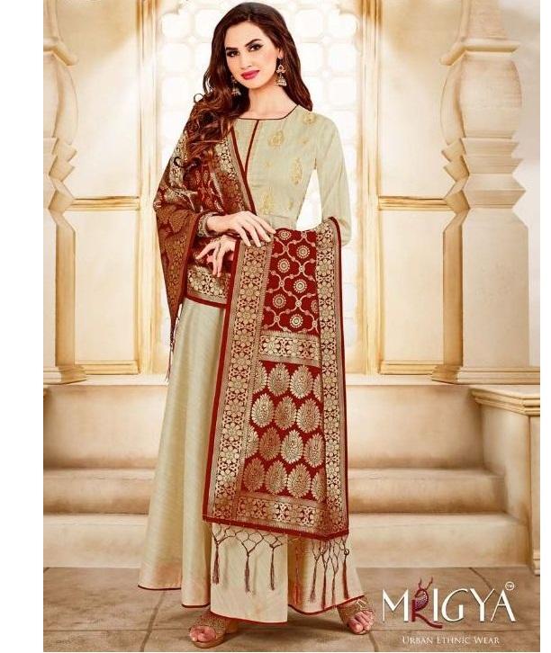 171d205803 MRIGYA SWARNA – Handloom fabric embroidery work party-wear kurtis with  banarasi dupatta