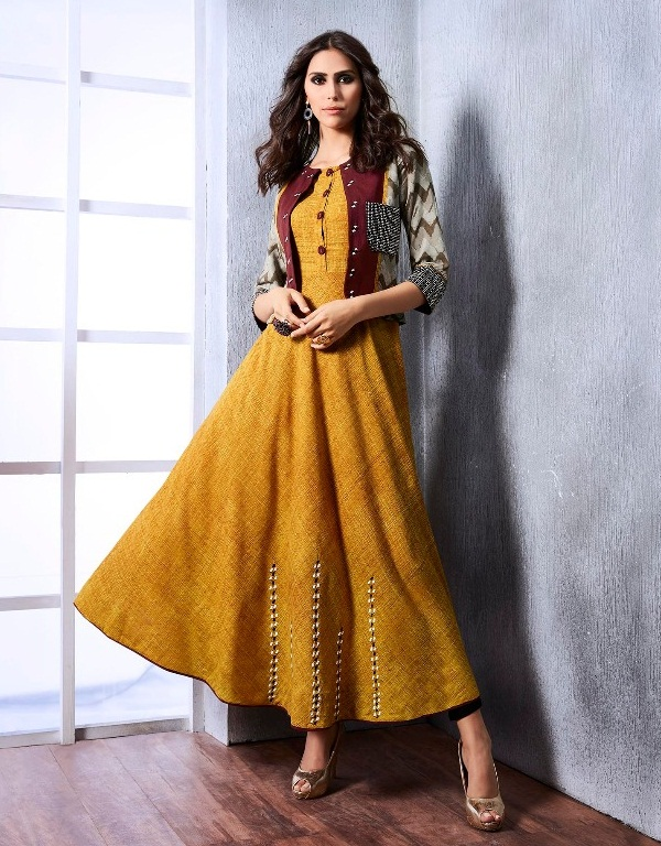 c3629b592dd ARTIST by RANGOON – Cotton and Rayon fabric print with work stylish kurtis  with jacket