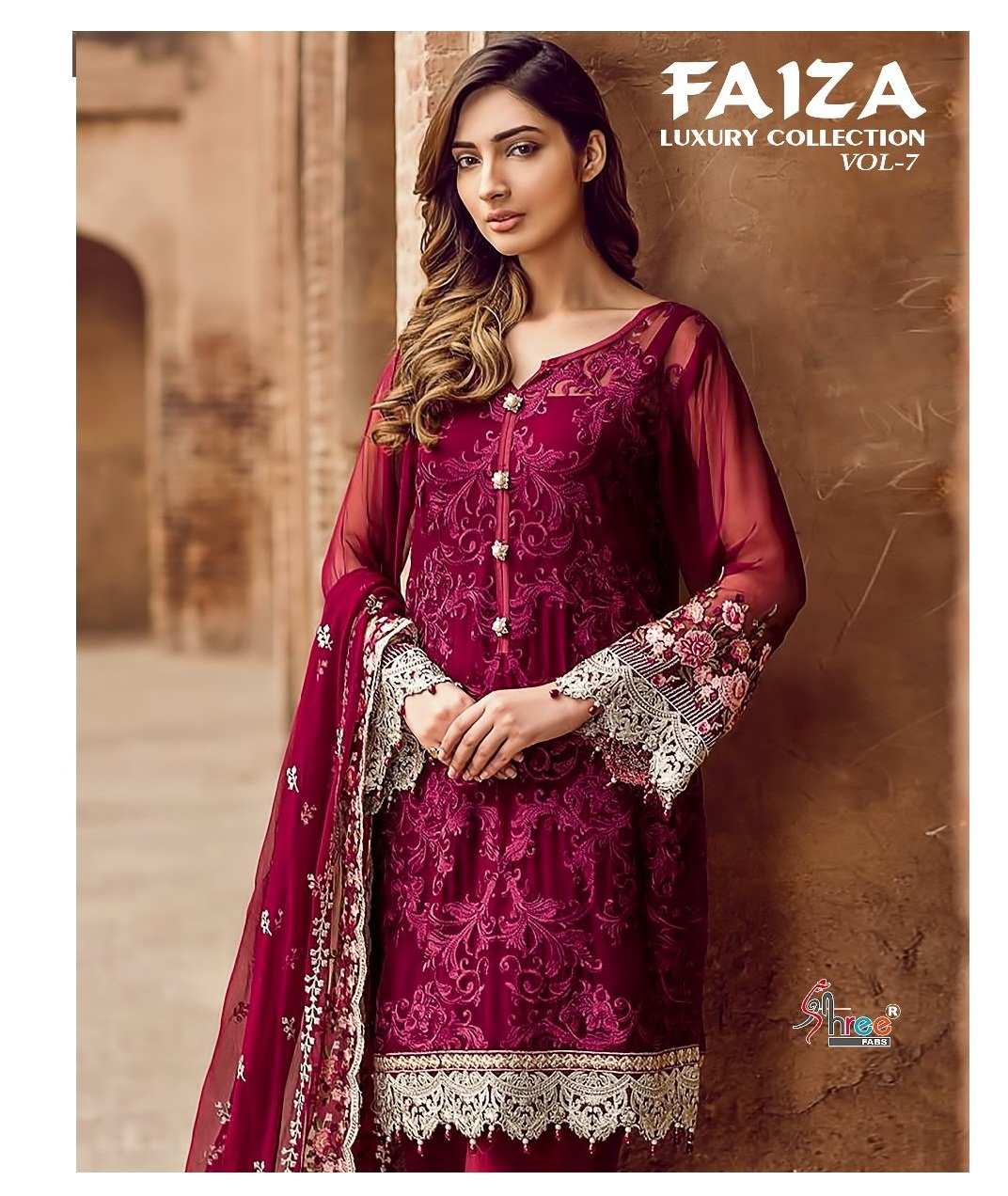 d3ee920639 FAIZA LUXURY COLLECTION VOL 7 – Georgette fabric embroidery work pakistani  style salwar kameez