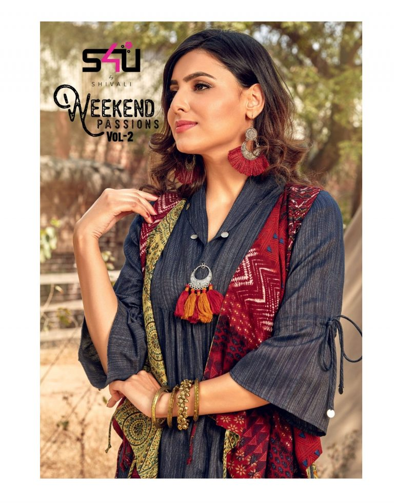 b3bc83058b S4U WEEKEND PASSIONS VOL 2 – Cotton and rayon fabric print with hank work  party wear stylish kurtis by shivali