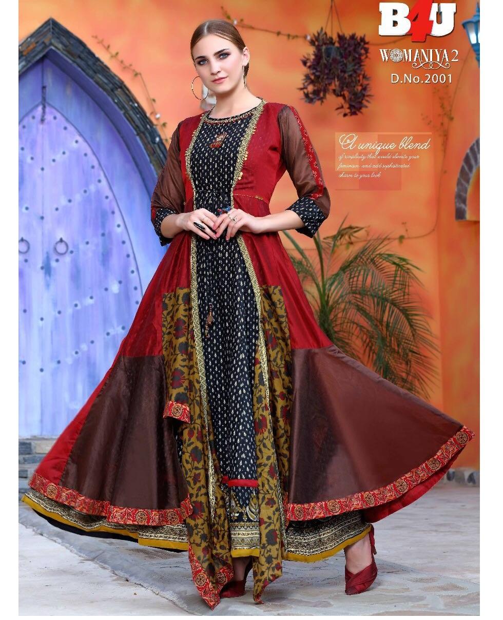 B4u Womaniya Vol 2 Chanderi Georgette Rayon And Cotton Fabric