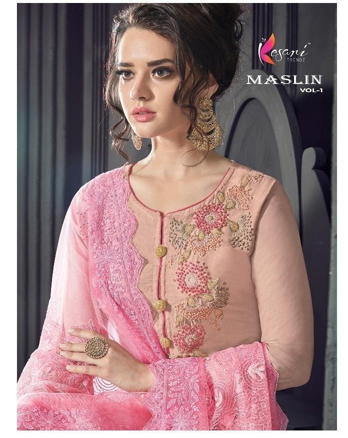 11f51d7d01 KESARI MASLIN VOL 1 – Pure Maslin khatli and hand work top with pure  organza and net fabric embroidery work dupatta party-wear straight salwar  kameez