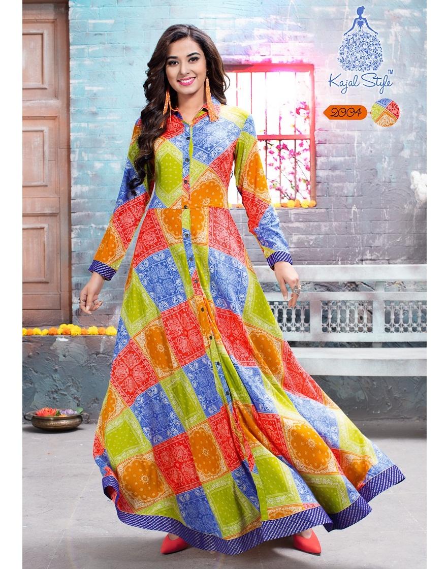 cb16da8d11 KAJAL STYLE F. SEASON VOL 2 – Rayon and cotton fabric dhabu print with work  stylish kurtis