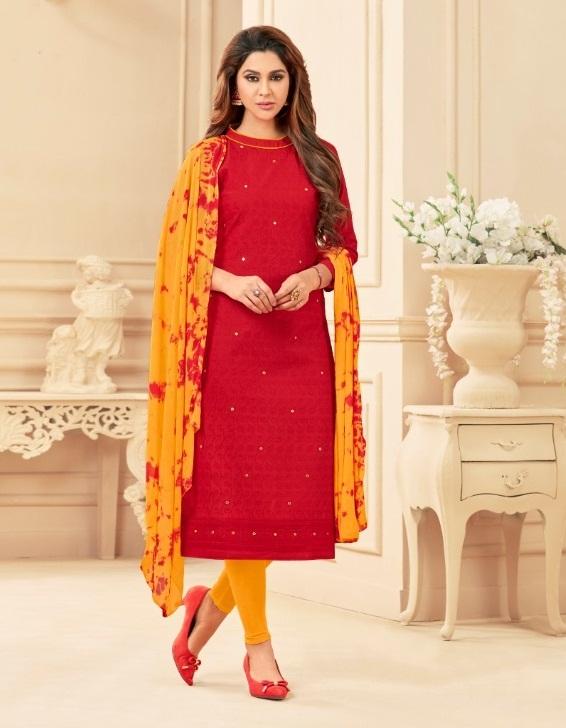 304ac69d93 AVC PRINCE – Cotton fabric chicken work with hand work top with Nazneen  bandhani print dupatta salwar kameez