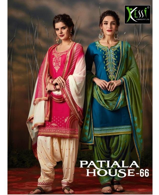 544951ab44 PATIALA HOUSE VOL 66 – Cotton satin fabric embroidery work punjabi patiala  salwar kameez material