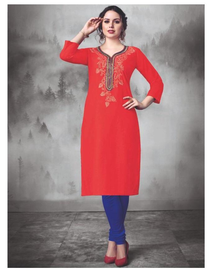 7172e4a473 IRIS HEER - Cotton slub embroidery work designer stylish kurtis ...