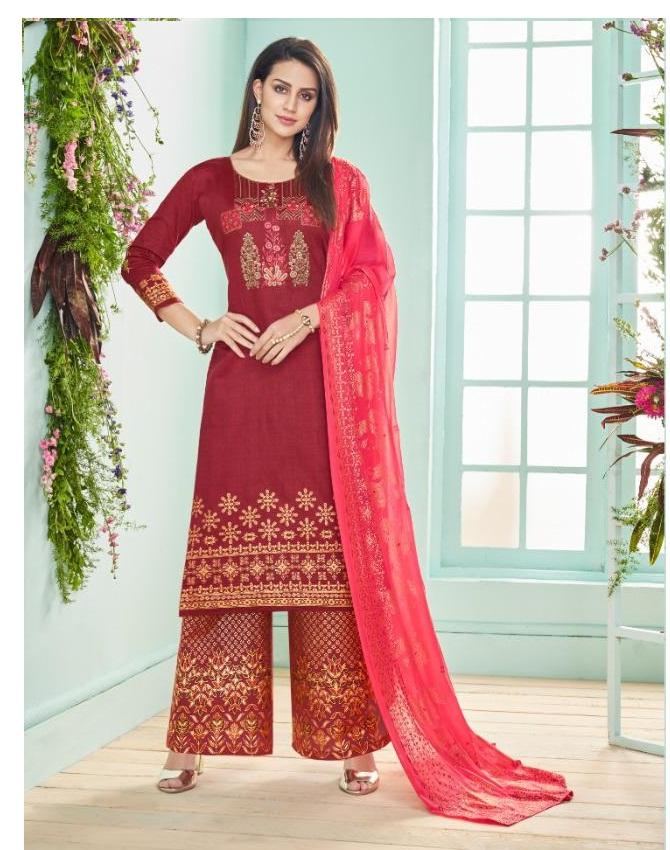 849a52b68f DEEPSY ROZA – Pure Jam Silk cotton foil print with work top with chiffon foil  printed dupatta salwar kameez