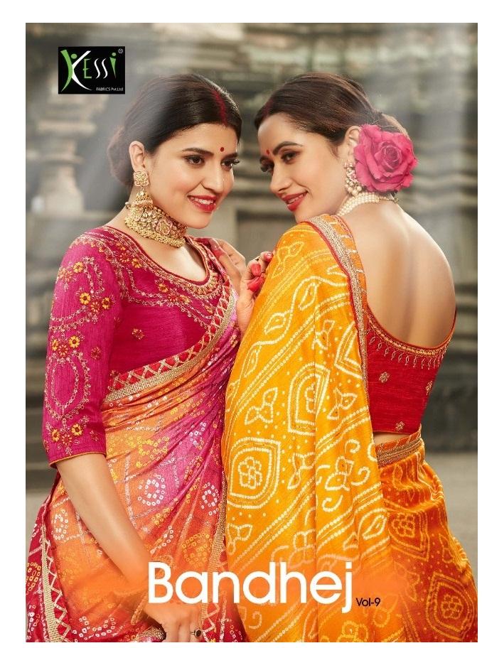 18d717845a7711 KESSI BANDHEJ VOL 9 – Dola silk fabric printed bandhej with embroidery work  wedding special sarees