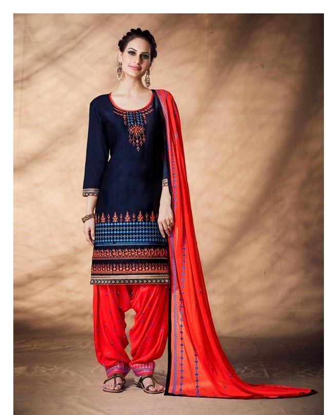 cddc960a22 PATIALA HOUSE VOL 69 – Cotton satin fabric embroidery work punjabi patiala  salwar kameez material
