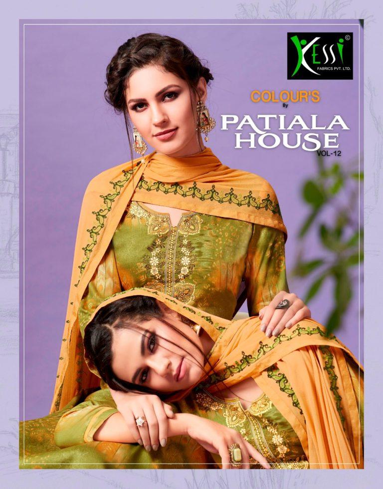 b76322a149 COLOUR'S by PATIALA HOUSE VOL 12 – Cotton satin fabric print with embroidery  work punjabi patiala salwar kameez material