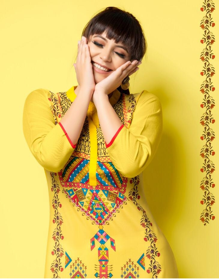 2e3a8a1984 PSYNA PRINCESS VOL 15 – Rayon fabric printed casual wear stylish kurtis